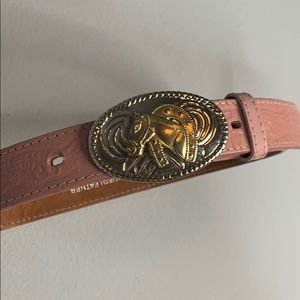 "Nocona pink leather cowboy belt horse buckle 31"""